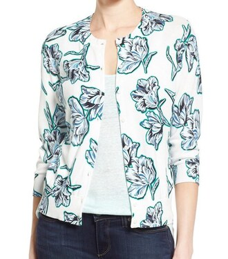 not dead yet style blogger cardigan floral jacket floral white jacket white top jacket