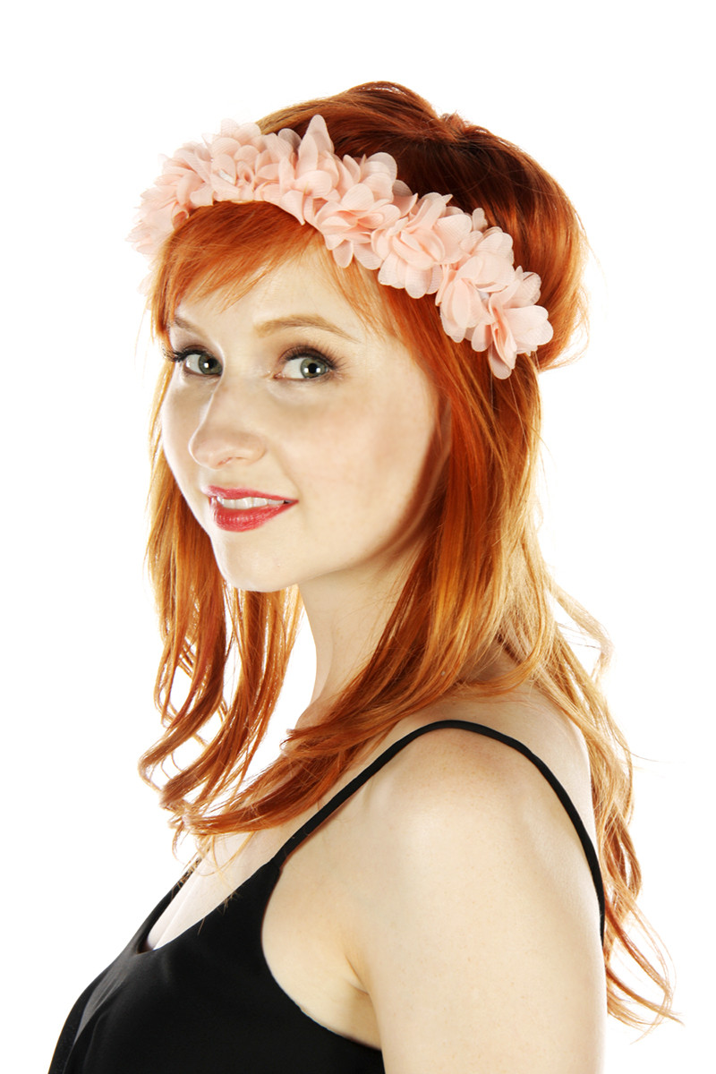 Coral floral headband