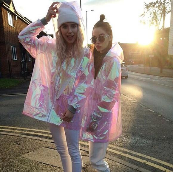 jacket holographic raincoat girly cool pale pinky swag seapunk vaporwave cyberpunk kawaii japanese rainbow raincoat pink