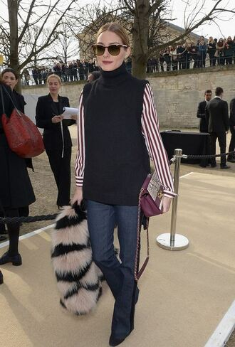 coat fur fur coat fashion week 2015 olivia palermo