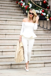 fashion addict,blogger,top,off the shoulder,white,cropped pants,pants,shoes,bag,jewels