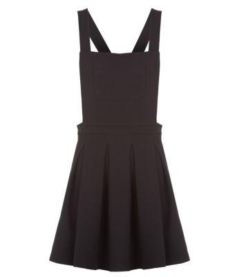 Petite Black Pleated Pinafore Dress