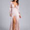 Believe in satin slit maxi dress gold blush - gojane.com