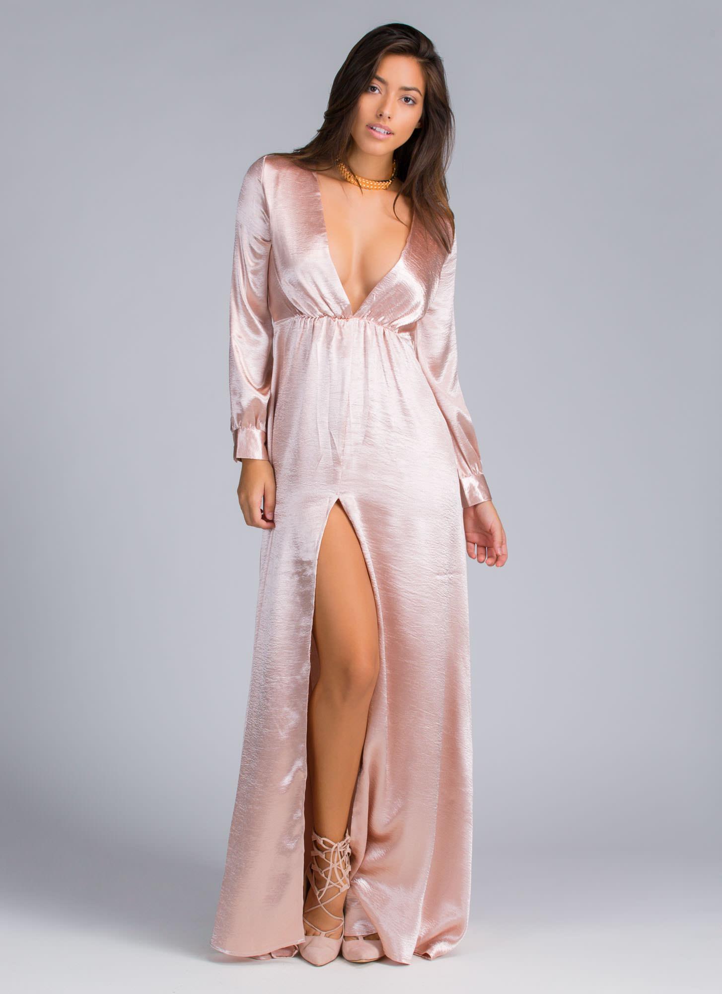 Satin maxi slit dress