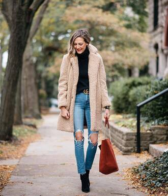 coat tumblr nude coat fuzzy coat teddy bear coat turtleneck sweater turtleneck sweater denim jeans blue jeans ripped jeans boots black boots