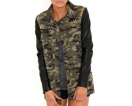 Stud Camouflage Jacket with Leather Sleeves @ lookcubes - Affordable Fashion