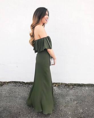 dress tumblr green dress maxi dress long dress off the shoulder off the shoulder dress bag white bag