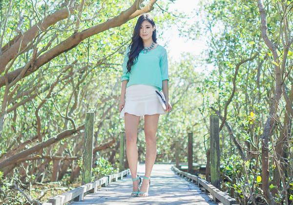 metallic paws blogger blouse jewels skirt shoes bag