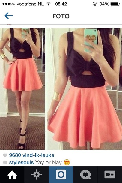 Dress: black pink bow cut dress cute short, outfit, pink, black ...