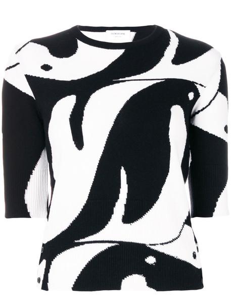 Thom Browne - penguin intarsia jumper - women - Cashmere - 42, Black, Cashmere