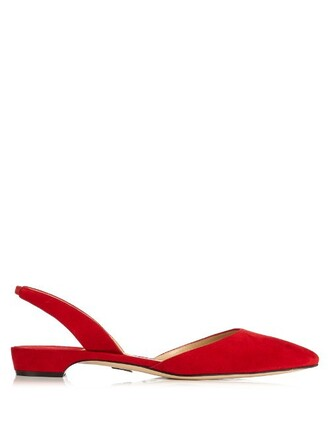 flats suede red shoes