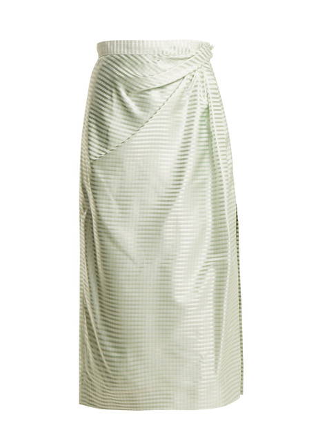 skirt midi skirt high midi silk gingham light green