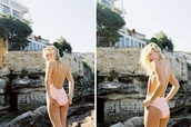 swimwear,baby pink,low back,backless,one piece swimsuit