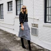 skirt,midi skirt,plaid skirt,ruffle,sweater,crossbody bag,mini bag,suede boots,black boots,sunglasses