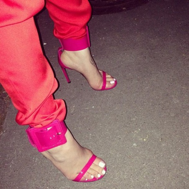 shoes flat pink buckles straps