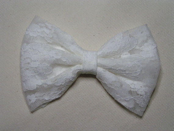 White lace hair bow clip kids hair bows teens by clipabowboutique