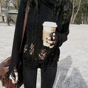 sweater,ripped,torn,black,holes,distress