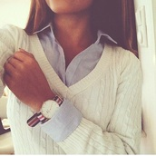 blouse,classy,tomboy,watch,shirt,white,girly,sweater,fall outfits,girl,style,jumper,cute,blue shirt,preppy,boyish,black,t-shirt,white shirt,black dress,smart,smart casual,cute sweaters,lovely,adorable outfit,so cute!!!,love,fashion,top,jewels,pull,neckline