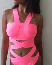 swimwear,pink,bodysuit,cut-out swimsuit,pretty,pretty things,fluorescent swimsuits,neon pink,one piece swimsuit,one piece