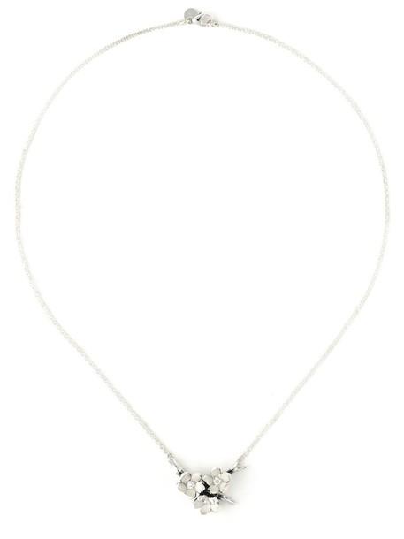 SHAUN LEANE cherry women necklace diamond necklace silver grey metallic jewels