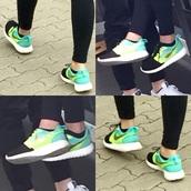 shoes,yellow,neon,light blue,blue,green,light green,nike,gold,nike free run,turkise