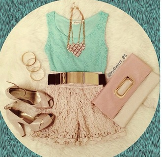 pants lace shorts metal plate belt taupe necklace taupe pumps high waist lace shorts neutral color block clutch shirt