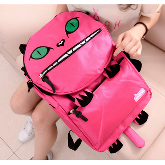 bag pink backpack monster cats green eyes eyes tail cute musthave shoes bracelets