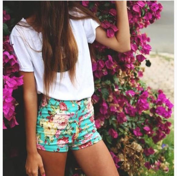 shorts girly floral floral shorts green teen fashion girl fashion