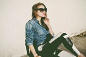 color me nana,blogger,denim shirt,leather leggings,black and white,pants,jeans,shirt,sunglasses