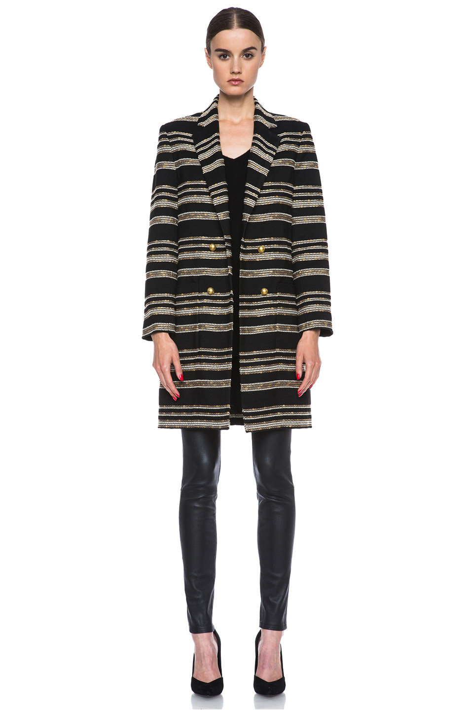 Jenni Kayne|Metallic Stripe Coat in Black & White & Gold
