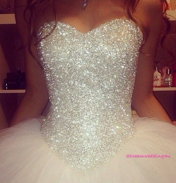 Dress: white and silver wedding dress, wedding dress, princess ...