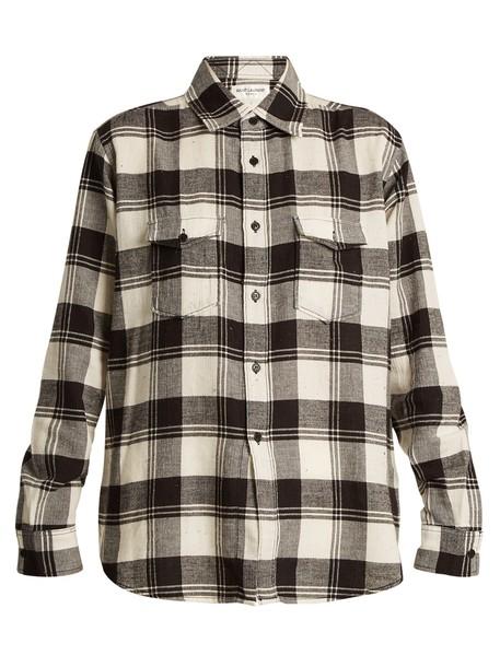 shirt long cotton white black top