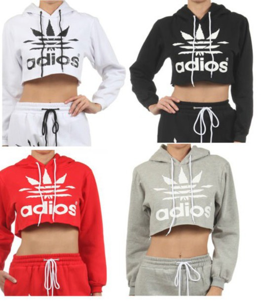 Sweater Grey Black White Red Adidas Crop Top Sweater Wheretoget