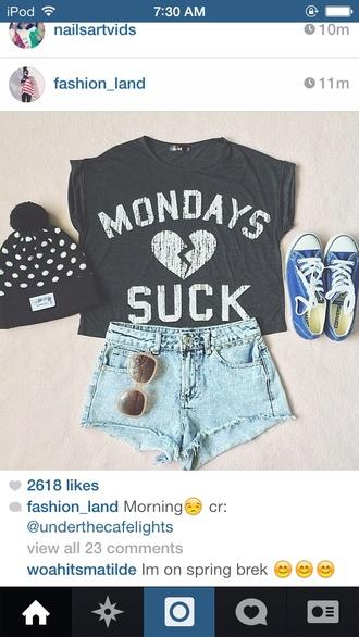 hat cute monday beenie hate mondays shirt white beanie polka dots black and white black