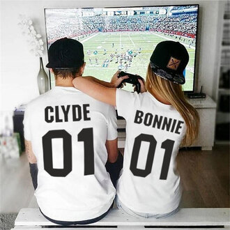 t-shirt shirt couple couple shirts couples tees matching set tumblr shirts love t-shrits love tees graphic jersey bonnie and clyde bonnie clyde shirts