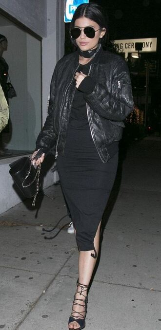 dress midi dress all black everything kylie jenner sandals jacket bomber jacket shoes