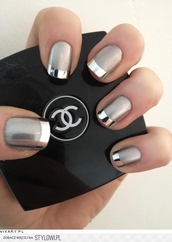 jewels,nails,nail art,nail polish,silver,metallic,grey,nail accessories,metallic nails,cute nails,pretty nails,neat,pretty,cute,stylish,style,trendy,fashion inspo,blogger,fashionista,chill,rad,dope,tumblr,on point clothing,cool,chanel,prom beauty