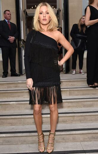 dress fringes ellie goulding black dress one shoulder fringed dress