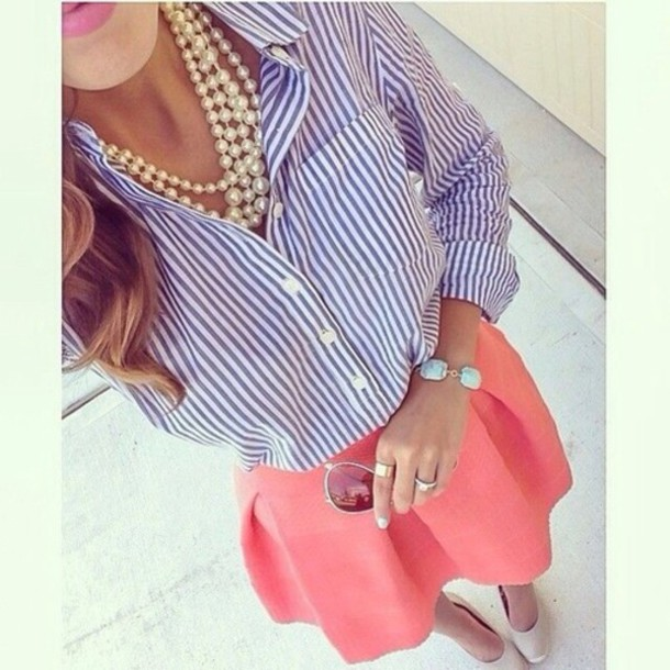 blouse skirt pearl lipstick shoes pink stripes navy white pink skirt where did u get that coral skater skater skirt long necklace perles beige top t-shirt bra bralette jewels bustier platform shoes aztec heels wedges style classy hot summer outfits perfecto peck orange long sleeves short skirt bracelets striped shirt make-up ring corset top polka dots streetwear streetstyle shirt
