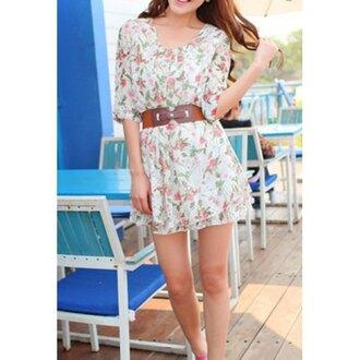 dress cute floral dress casual dress waist belt short dress