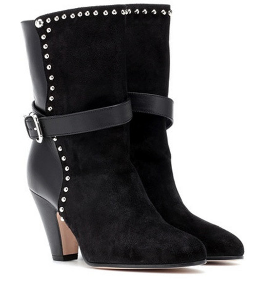 REDValentino RED (V) embellished suede ankle boots in black