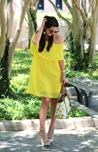 diary of a debutante blogger dress bag shoes jewels sunglasses yellow dress off the shoulder dress wedges summer outfits wedge sandals