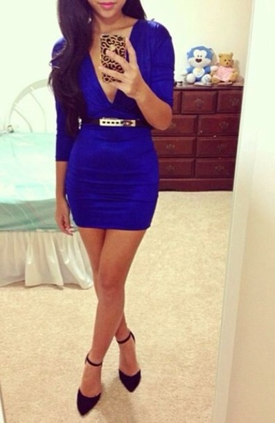dress dressy royal blue deep v classy cute urgent medium length blue dress low v neck bodycon dress bodycon classy dress belt