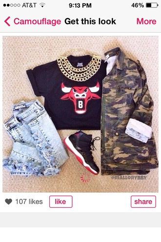 shirt chicago bulls croptops croptop red black swag acid wash jeans canon camo jacket bred 11s t-shirt jacket shoes pants jewels