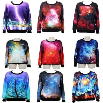 sweater galaxy print sweatshirt