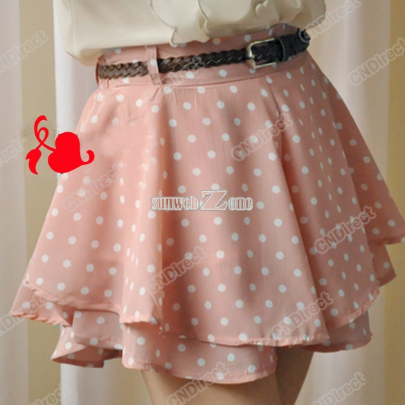 Women High Waist Pleated Dot Polka Chiffon Vintage Short Mini Skirts Dress S0BZ | eBay