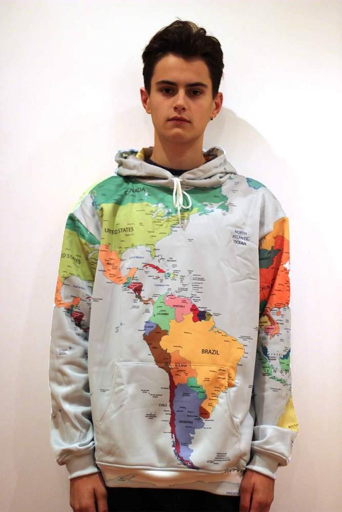 World Map Sweater.Blur Threads World Map Hoodie