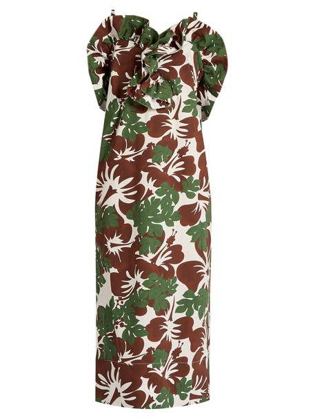 Rosie Assoulin dress tropical cotton print brown
