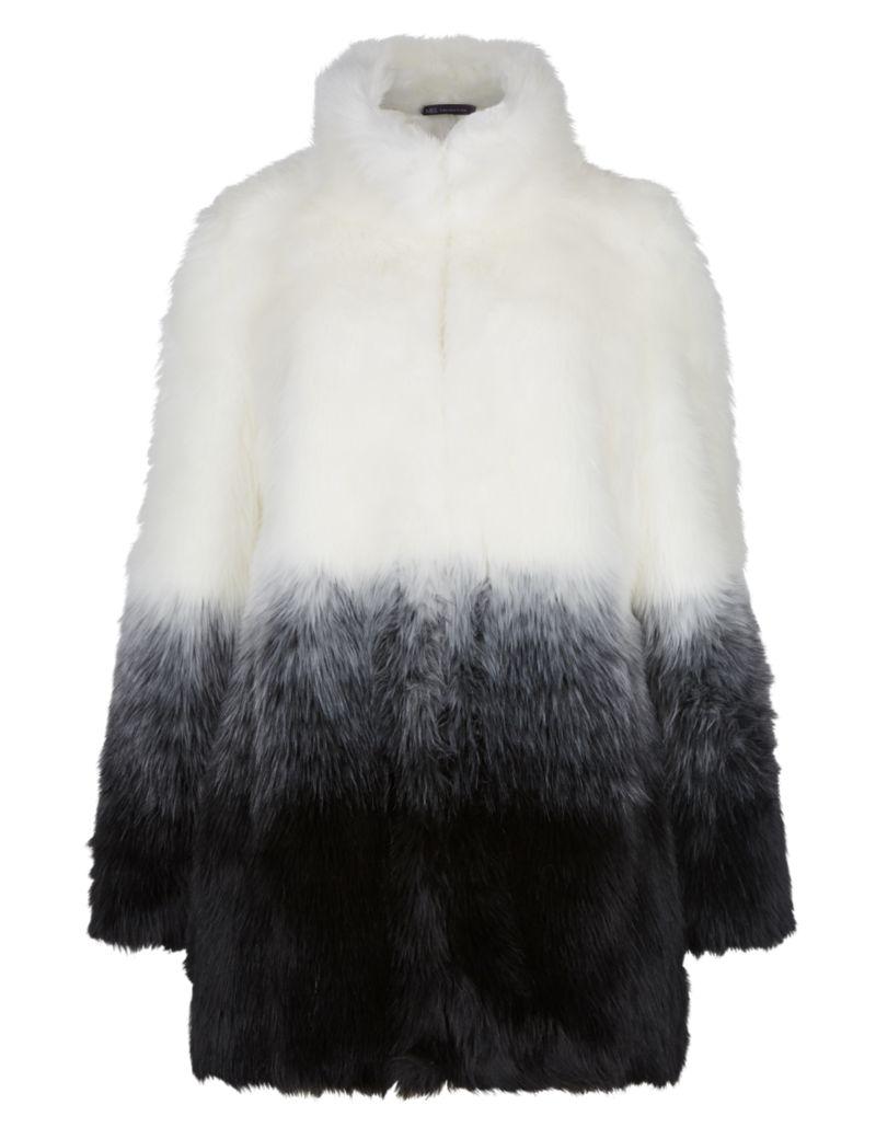 Faux fur ombre effect coat