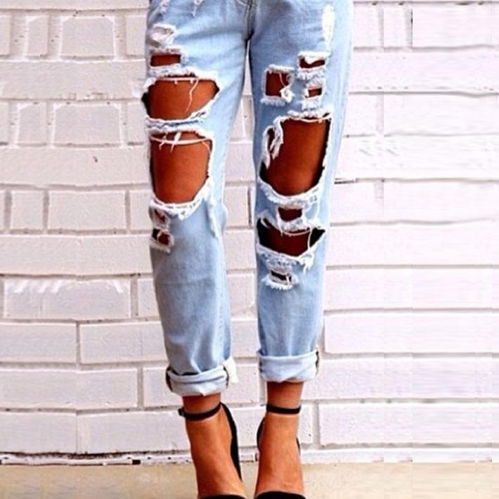 la nueva europa y américa los pantalones de moda slim agujero sexy causal lápiz sólido ripped skinny jeans de en de en Aliexpress.com
